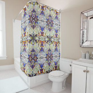 Abstract Dancing Hawks Pattern Shower Curtain