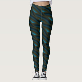 Abstract Dark Blue Curly Wave Pattern #2 Leggings