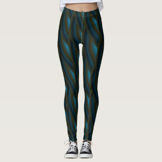 Abstract Dark Blue Curly Wave Pattern Leggings