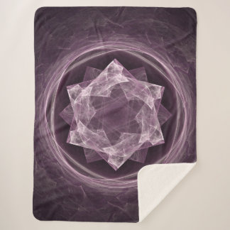 Abstract Dark Grayish Purple Fractal Sherpa Blanket