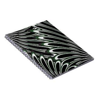 abstract dark green flowers notebook