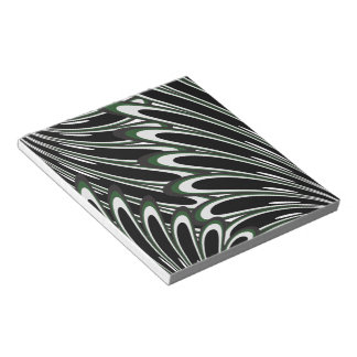 abstract dark green flowers notepad