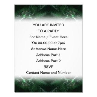 Abstract Dark Green Fractal Pattern Custom Invitations
