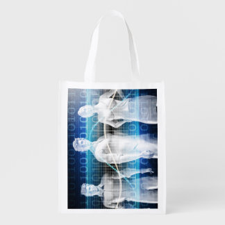 Abstract Data of Population and Key Demographic Reusable Grocery Bag