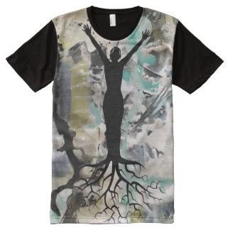 Abstract Deep Rooted All-Over Print T-Shirt