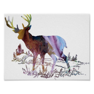 Abstract  Deer in the Forest Silhouette Poster