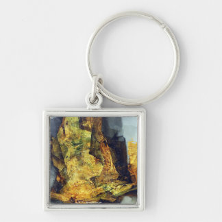 Abstract deformation Silver-Colored square key ring