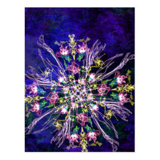 Abstract delicate silk flowers vertical postcard
