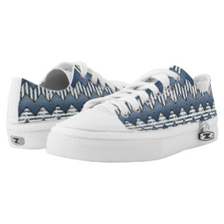 Abstract Denim Mixed Media Low Tops