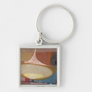 Abstract Design 14X11 Silver-Colored Square Key Ring