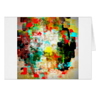 Abstract Design, Aqua, Red, Black, Brown, Yellow Greeting Card