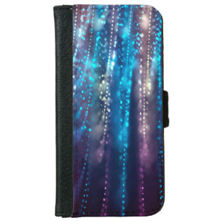 Abstract Design Blue and Silver Glitter Shower iPhone 6 Wallet Case