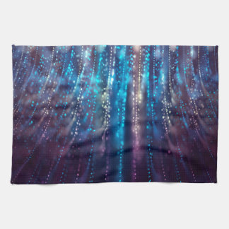 Abstract Design Blue and Silver Glitter Shower Tea Towel