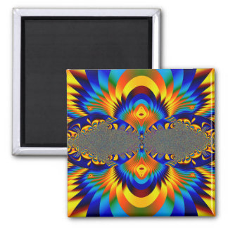Abstract Design Blue And Yellow Pattern Square Magnet