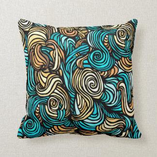 Abstract Design Blue Orange Swirls Cushion