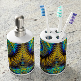 Abstract Design Feather Look Yellow And Blue Whirl Bathroom Set
