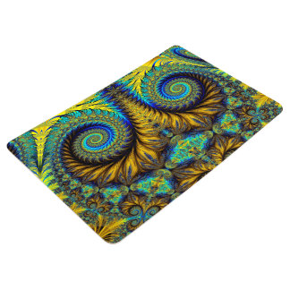 Abstract Design Feather Look Yellow And Blue Whirl Floor Mat