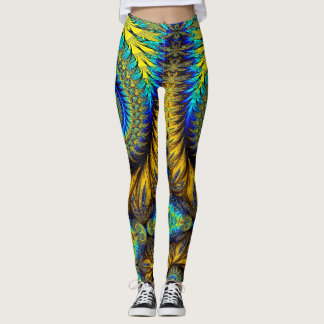 Abstract Design Feather Look Yellow And Blue Whirl Leggings