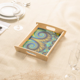 Abstract Design Feather Look Yellow And Blue Whirl Serving Tray