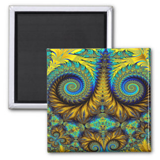 Abstract Design Feather Look Yellow And Blue Whirl Square Magnet