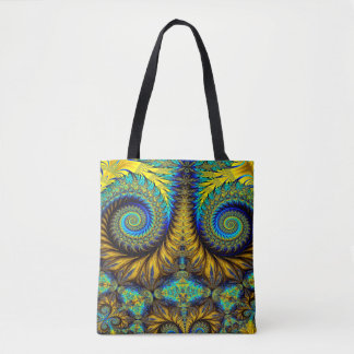 Abstract Design Feather Look Yellow And Blue Whirl Tote Bag
