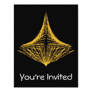 Abstract design, fiery amber and black. 11 cm x 14 cm invitation card