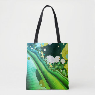 abstract design green fractal tote bag