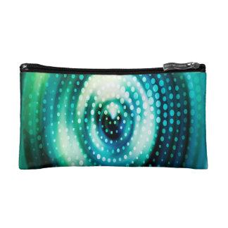 Abstract Design Green & White Concentric Circles Makeup Bag