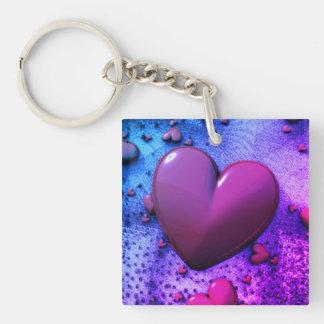 abstract design heart fractal 3D Key Ring
