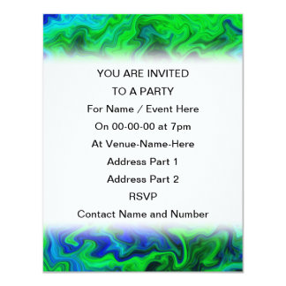 Abstract Design in Blue and Green. 11 Cm X 14 Cm Invitation Card