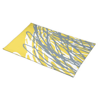 Abstract design in gray and yellow place mat