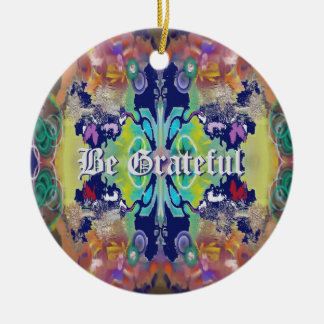 Abstract Design in Purples with Your Text Round Ceramic Decoration