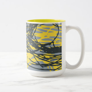 Abstract design in white, yellow and gray Two-Tone coffee mug