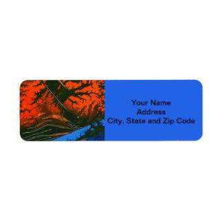 Abstract design return address label, swamp fire. return address label