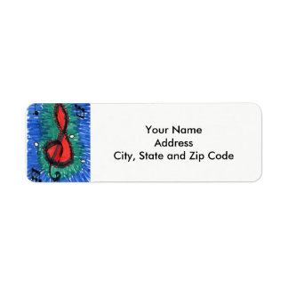 Abstract design return address label with music.