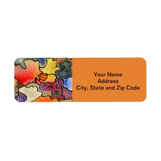 Abstract design return address label with swirls.