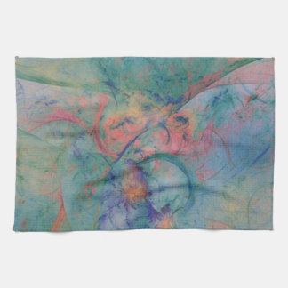 Abstract design with soft colors of peach and blue tea towels