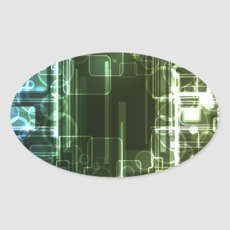 Abstract Digital Background Oval Sticker
