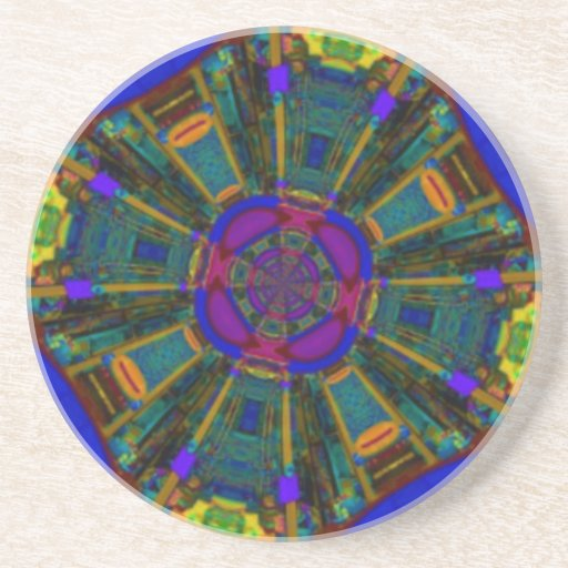 Abstract Dining Space Purple Blue Beverage Coasters