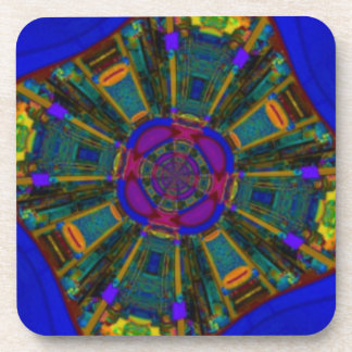 Abstract Dining Space Purple Blue Beverage Coaster