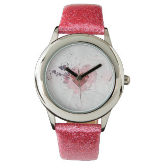 Abstract Distressed Ink Pink Heart Paper Design Watch
