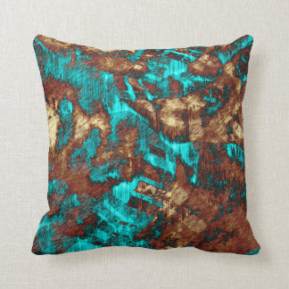 Abstract Distressed Turquoise Cream Brown Texture Cushion