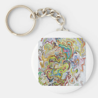 Abstract Doodle Basic Round Button Key Ring