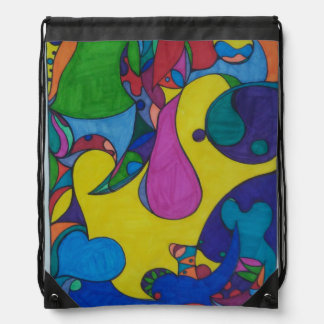 Abstract Doodle Drawstring Backpack