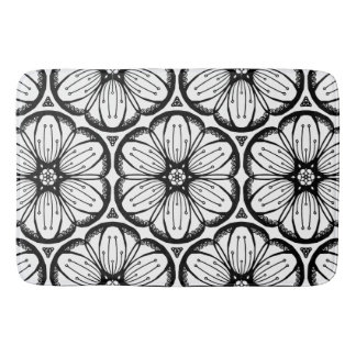 Abstract Doodle Flower Ink Tangling Pattern Bath Mats