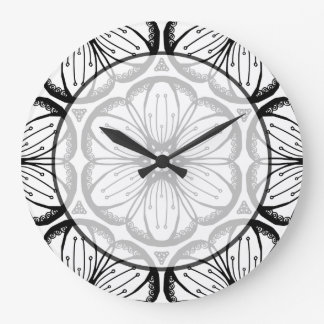 Abstract Doodle Flower Ink Tangling Pattern Wallclock
