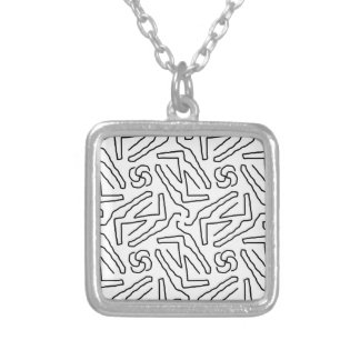 Abstract doodle pattern silver plated necklace