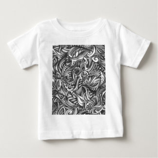 Abstract Doodle Swirly Lines Shaded In Pencil Art Baby T-Shirt