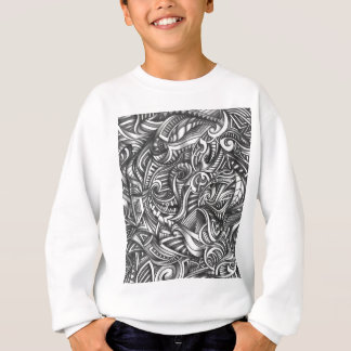 Abstract Doodle Swirly Lines Shaded In Pencil Art Sweatshirt