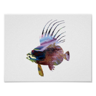 Abstract  Dory fish silhouette Poster